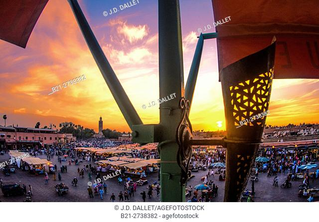 Place Djemaa El Fna in the evening, Marrakech, Morocco