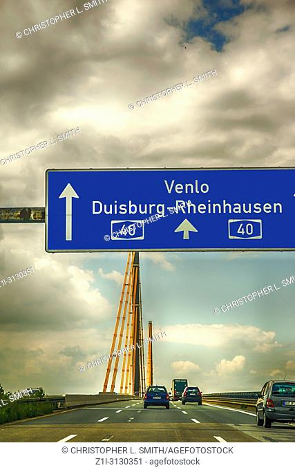 Bridge over the Ruhr on A-40 autobahn near Duisburg in Germany
