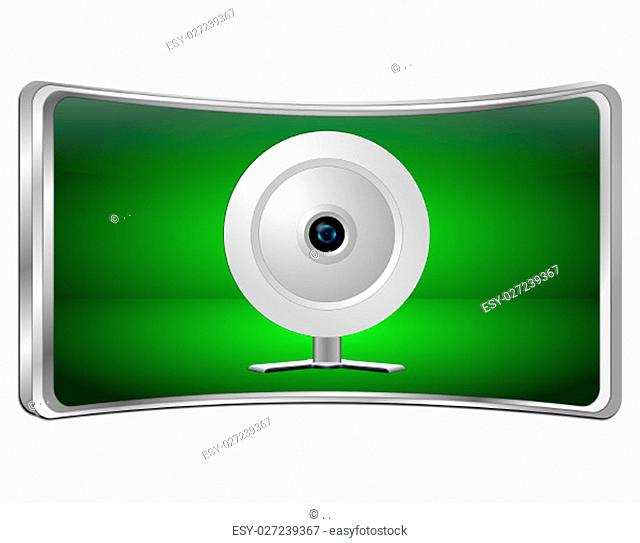 green Button with Webcam - 3D illustration