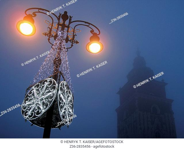Poland, Krakow, Town Hall Tower at Christmas time