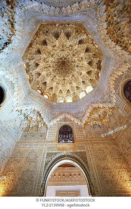 Arabesque Moorish stalactite or morcabe ceiling in the Hall of the Two Sisters, Palacios Nazaries Alhambra. Granada, Andalusia, Spain