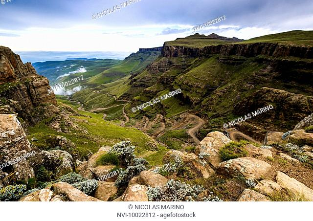 View from Sani Pass to Drakensberg range, Border South Africa Lesotho, Africa