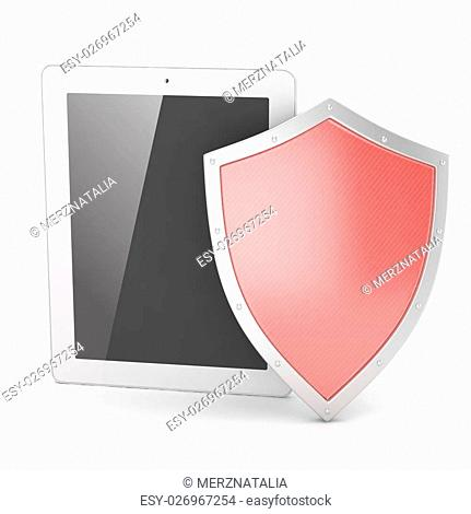 Tablet PC and shield on white device security concept. 3D rendering