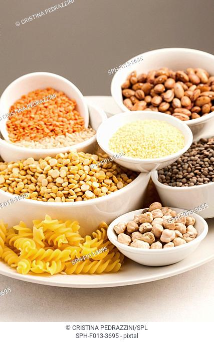 Selection of dried foods, grains and pulses