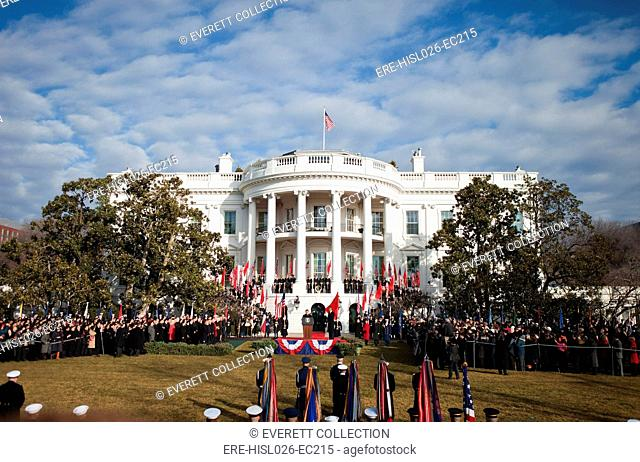 Overview of the welcoming ceremony for Chinese President Hu Jintao on the South Lawn of the White House. Jan. 19 2011. BSWH-2011-8-219
