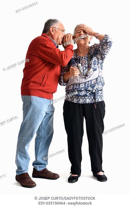 Senior couple, whispering secrets