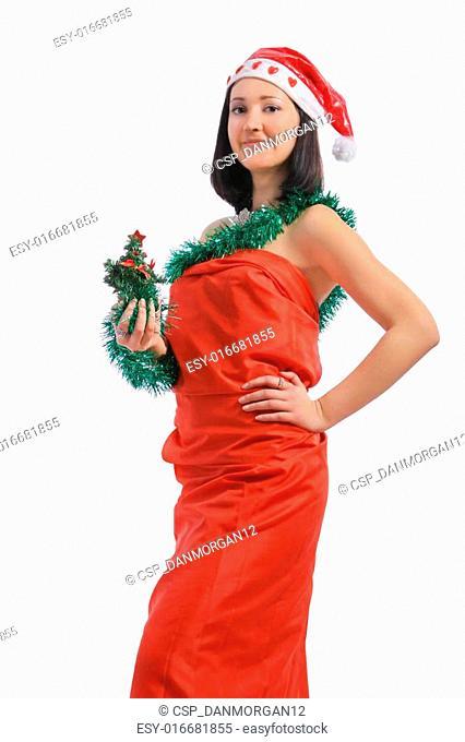 brunette holding a christmas tree