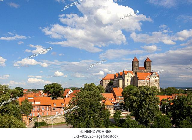 View to castle and church St Servatius, Quedlinburg, Harz mountains, Saxony-Anhalt, Germany, Europe