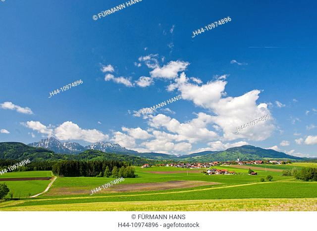 Bavaria, Europe, Germany, Upper Bavaria, Berchtesgaden country, Rupertiwinkel, Strass, Ainring, village, panorama, agriculture, agrarian, farming, Rural