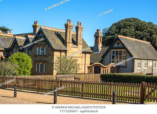 Characterful Holkham village planned estate houses, Norfolk, England