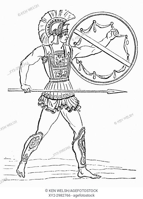 A Greek warrior. From Ward and Lock's Illustrated History of the World, published c. 1882