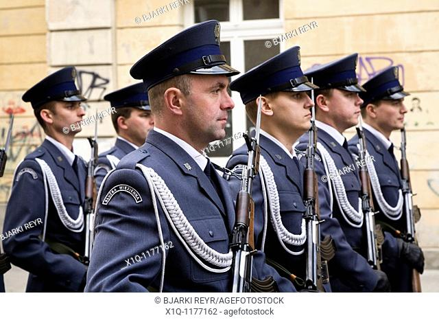 Warsaw Poland: Honor guards stand in memory of president Lech Kaczynski who died in a plane crash