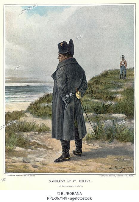 Napoleon at St Helena, Napoleon Bonaparte 1769-1821. Emperor of France. Portrait. Image taken from Life of Napoleon Bonaparte