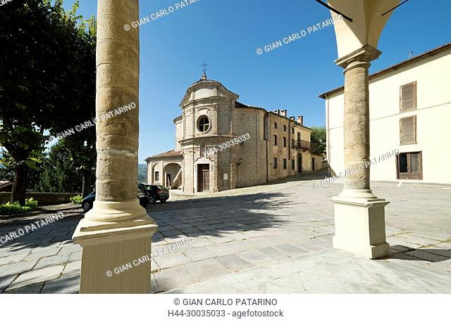Italy, panorama of vineyards of Piedmont Langhe-Roero and Monferrato on the World Heritage List UNESCO, Canelli Villanuova the old church of San Rocco from the...