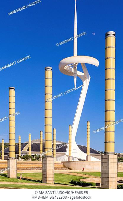 Spain, Catalonia, Barcelona, Montjuic Olympic park telecommunications tower (Torre Telefonica de Montjuïc) designed by architect Santiago Calatrava for the...