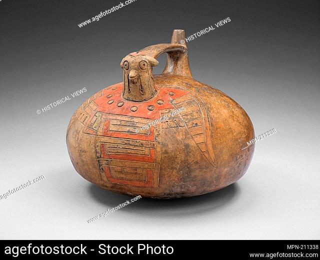 Strap-Handled Vessel in the Form of a Bird with Abstract Pattern on Body - 650/150 B.C. - Paracas Ica Valley, south coast, Peru - Artist: Nazca, Origin: Peru