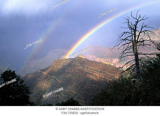 Double Rainbow over the Grand Canyon from Grandview Point, South Rim Grand Canyon National Park, Arizona, USA