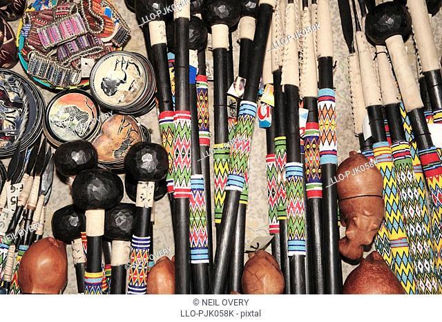 Various African crafts - knob kerries. nr Empangeni, Kwa-Zulu Natal Province, South Africa