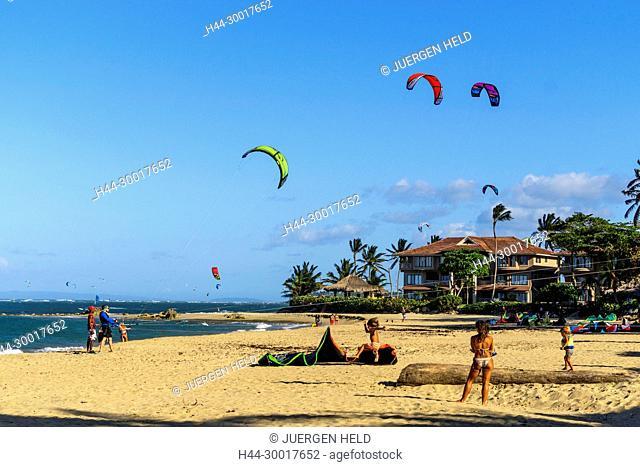 Dominican Republic, Cabarete, Cabarete beach, North Coast, Caribbean, Kiteboaders, Cabarete beach, North Coast, Dom Rep