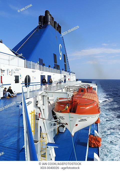 life boat and funnel aboard Grimaldi Lines ferry, Cruise Smerelda in Mediterranean between Barcelona and Tangier