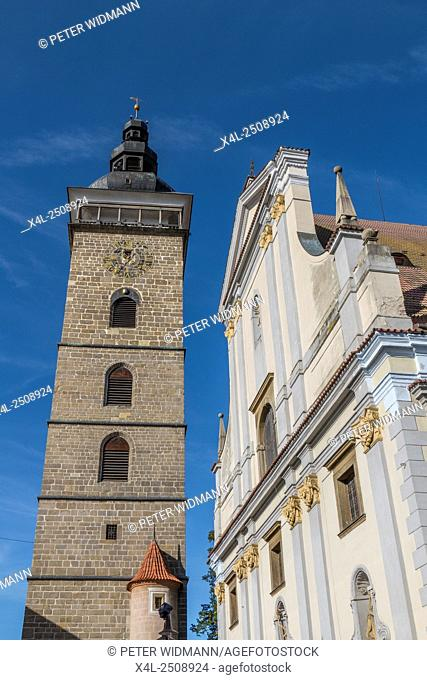 Black Tower, St. Nicholas Cathedral, Ceske Budejovice, also Bohemian Budweis, Budvar, Bohemia, Czech Republic, Europe