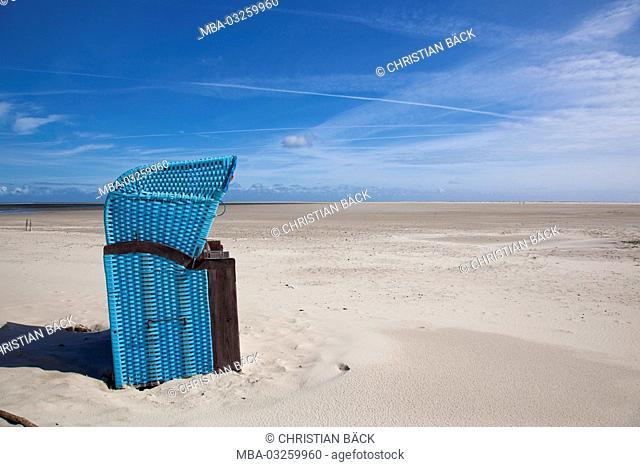 Beach chairs on the Kniepsand, Wittdün, island Amrum, the North Sea, national park Schleswig-Holstein Wadden Sea National Park, Schleswig - Holstein, Germany