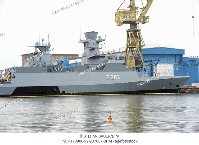 """The corvette """"""""Oldenburg""""""""of the K 130 type of the German Navy is lying in front of the Peene-dockyard of the Luerssen group in Wolgast, Germany"""