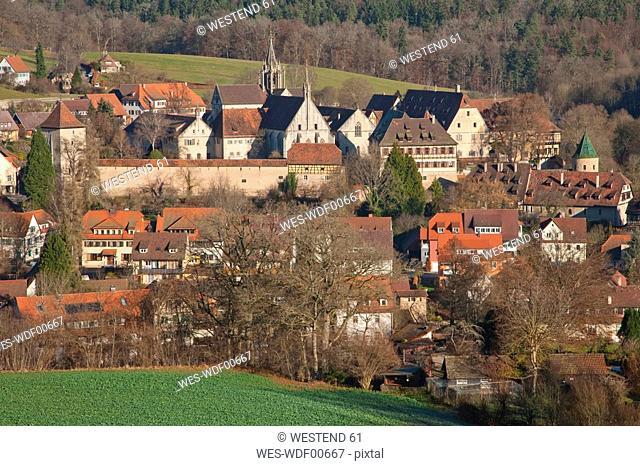 Germany, Baden-Wuerttemberg, Tuebingen, View of the town with Bebenhausen Monastery