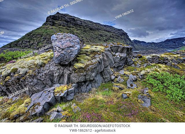 Large rocks, moss and vegetation, Skaftafell National Park, Iceland