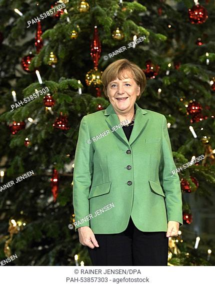 Chancellor Angela Merkel stands in front of a Christmas tree, a Caucasian fir from the Hessmuehle farm in the Saarlouis district