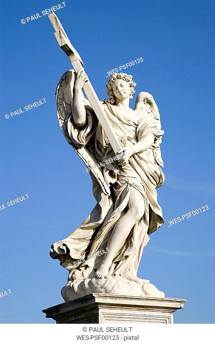 Italy, Rome, Ponte Sant'Angelo, Angel with the Cross