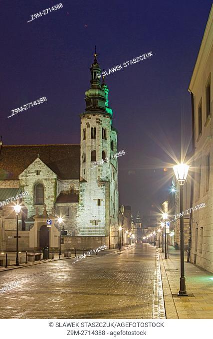 Night on Grodzka street, Krakow old town, Poland. UNESCO world heritage site