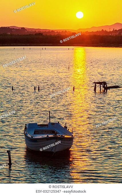 Sunset Scene with Boats, Kanoni, Corfu, Greece