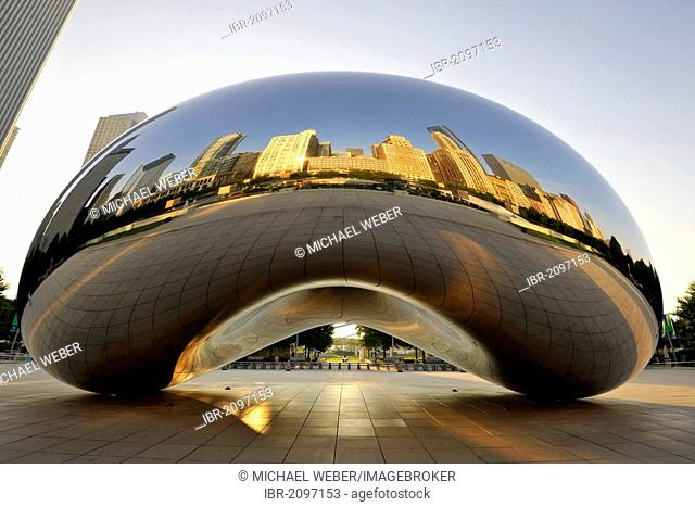 Reflection of the Chicago skyline with Legacy at Millennium Park Building, The Heritage, Pittsfield Building, Cloud Gate sculpture The Bean by Anish Kapoor