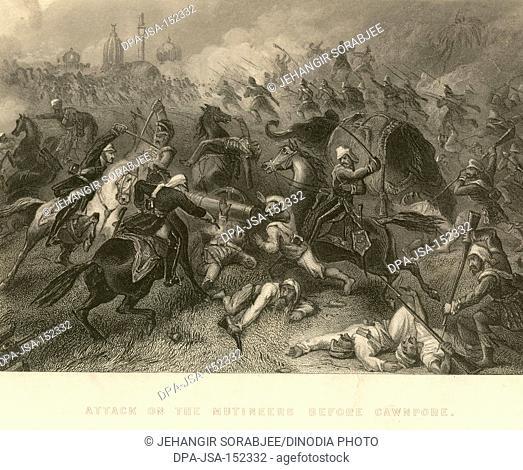 Military and munity mutiny views Attack of the Mutineers before Cawnpore ; Kanpur ; Uttar Pradesh ; India