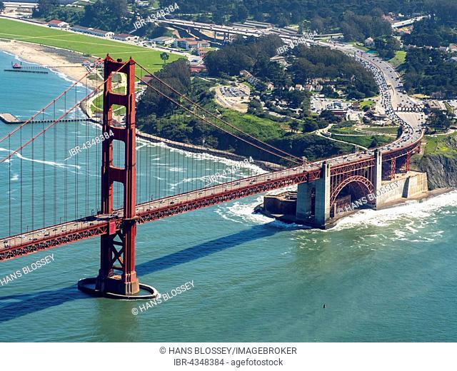 Aerial view, south side of the Golden Gate Bridge, San Francisco, San Francisco Bay Area, California, USA