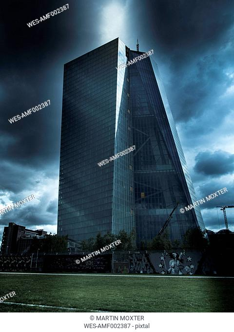 Germany, Hesse, Frankfurt, view to European Central Bank at stormy atmosphere