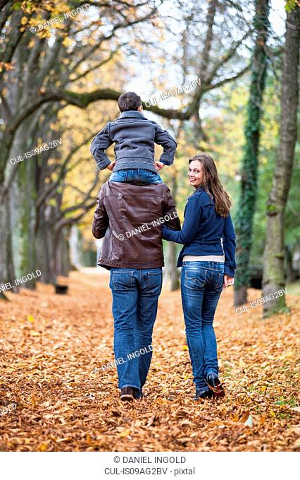 Parents and young son strolling through autumn leaves in park