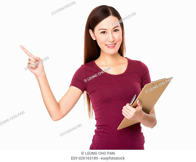 Young woman hold with clipboard and finger point up