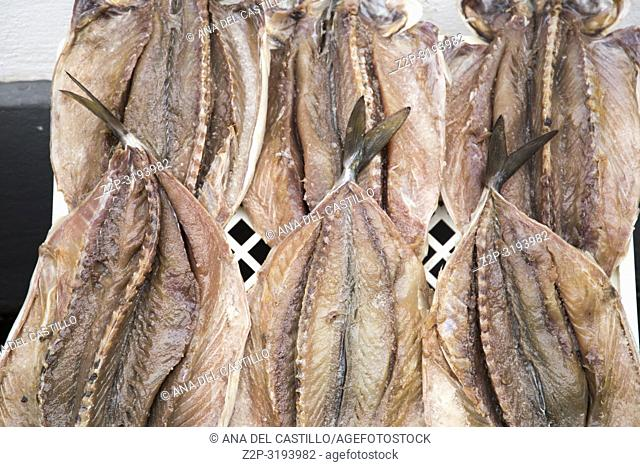 Drying Fishes in Angra market Terceira island Azores Portugal