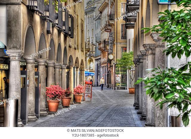 Street with arches, Lugano, Ticino, switzerland