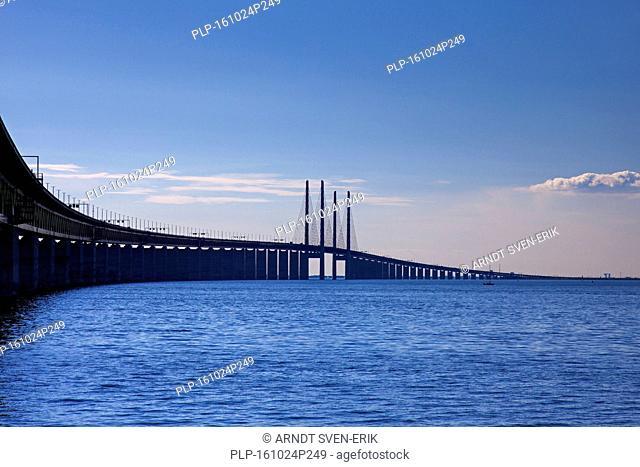 Öresund / Øresund Bridge, double-track railway and dual carriageway bridge-tunnel between Denmark and Sweden, Scandinavia
