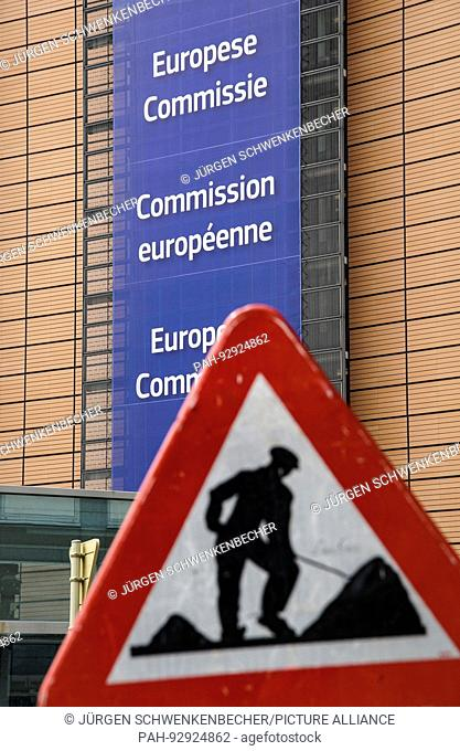 Permanent building site Europe - traffic sign in front of European Commission building in Brussels. (08 July 2016)   usage worldwide