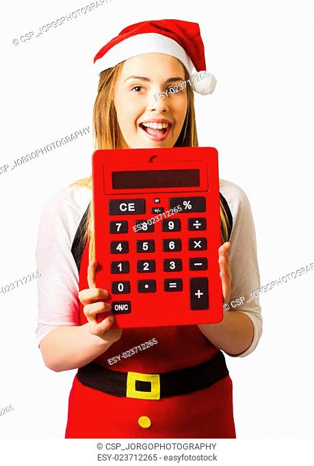 Christmas girl calculating holiday savings