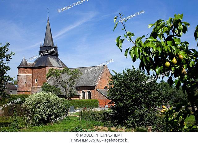 France, Aisne, Parfondeval, labelled Les Plus Beaux Villages de France The Most Beautiful Villages of France, Saint Medard church