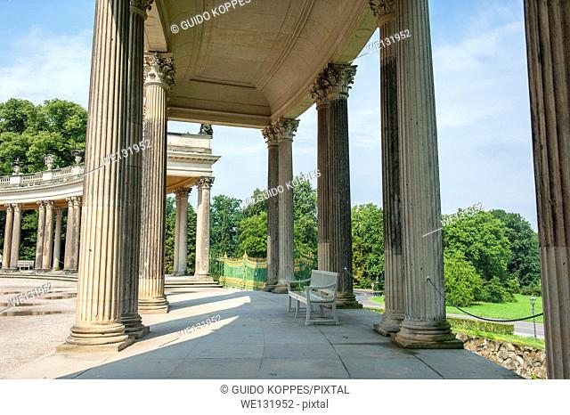 Potsdam, Germany. Galerie in front of the Oranienpalais, part of the UNESCO site with palaces and parks