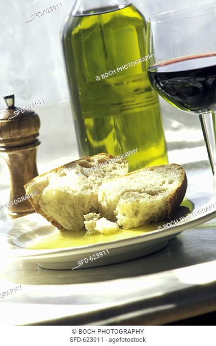 Rustic Italian Bread in Olive Oil with Pepper, Wine