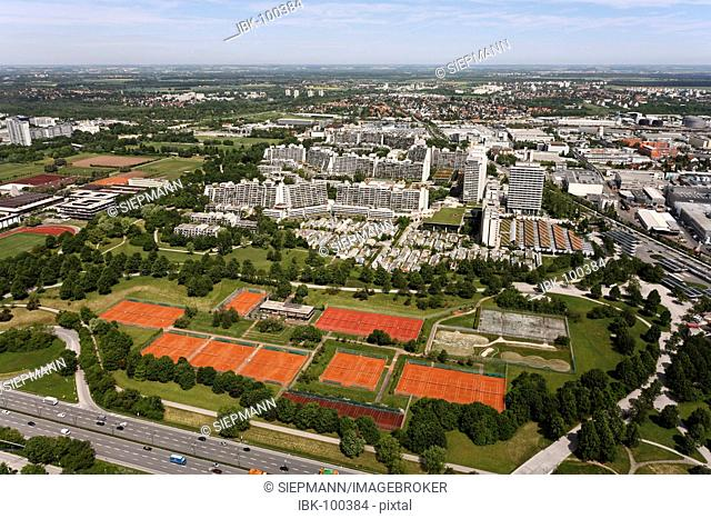 Olympiazentrum , The Munich Olympic village , tennis courts , view from Olympic tower , Munich Bavaria Germany