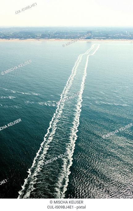 Trail from ship on calm sea, Scheveningen, Zuid-Holland, Netherlands