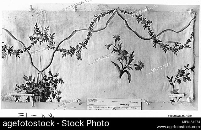 Piece. Date: 18th century; Culture: French; Medium: Silk on silk; Dimensions: L. 18 x W. 8 1/4 inches (45.7 x 21 cm); Classification: Textiles-Embroidered;...